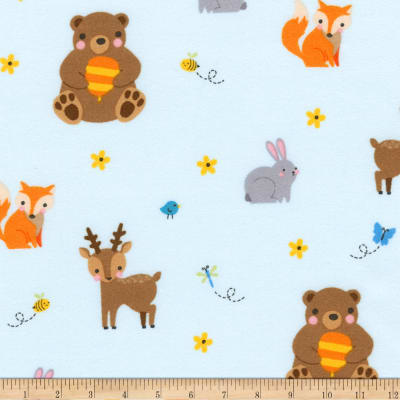 Kaufman Woodland Hideaway Flannel Animal Collage Aqua