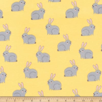 Kaufman Woodland Hideaway Flannel Bunnies Yellow