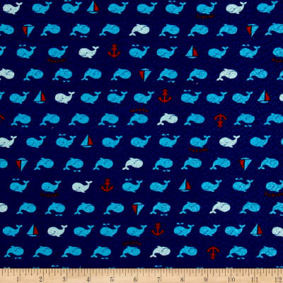 Cosmo Beach Life Whales Plisse Navy