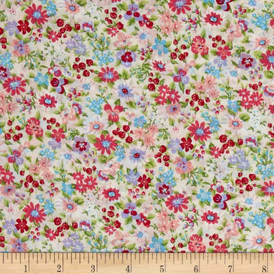 Cosmo Garden Delight Small Floral Lawn Cream