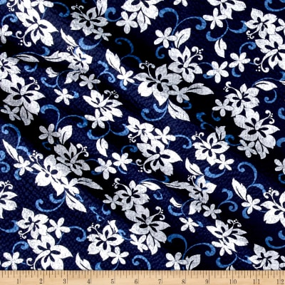 Kaufman Sevenberry Plisse Collection Tropical Flowers Navy