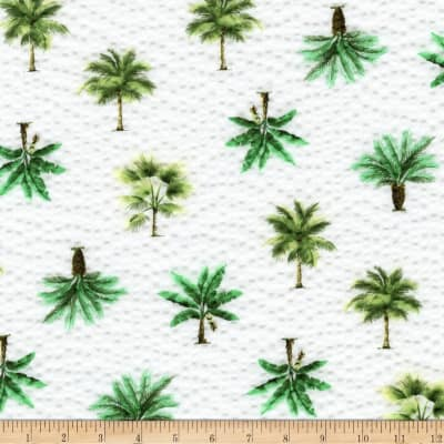 Kaufman Sevenberry Plisse Collection Palm Trees White