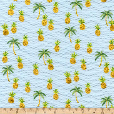 Kaufman Sevenberry Plisse Collection Pineapples Sky