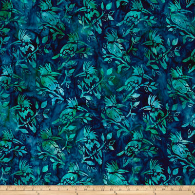 Kaufman Batiks Wildlife Sanctuary Birds Aqua