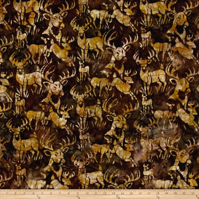 Kaufman Batiks Wildlife Sanctuary Elk Earth