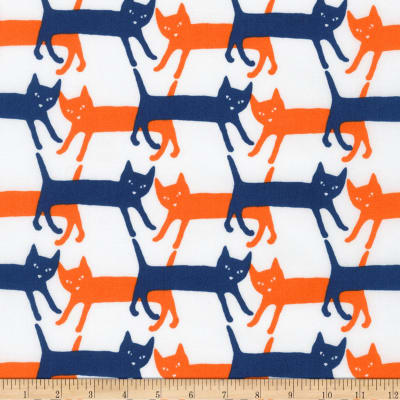 Kaufman Sevenberry Mini Prints Cats White