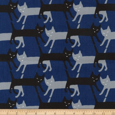 Kaufman Sevenberry Mini Prints Cats Royal