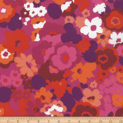 Kaufman Digitally Printed Stretch Poplin Flowers Hot Pink