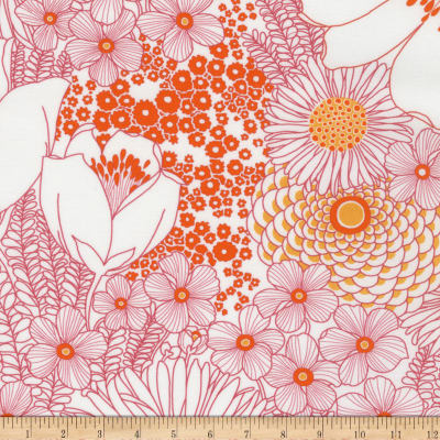 Kaufman Digitally Printed Stretch Poplin Bouquet Tangerine