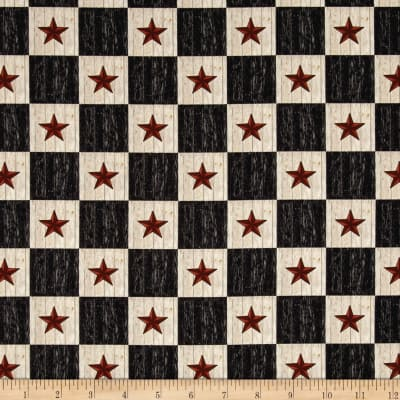 Plain & Simple Folk Art Star Check Black