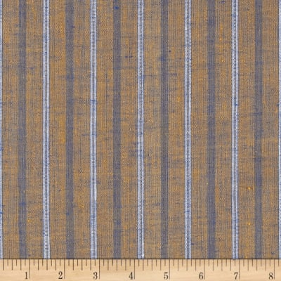 100% European Linen Striped Shirting Rustic Blue