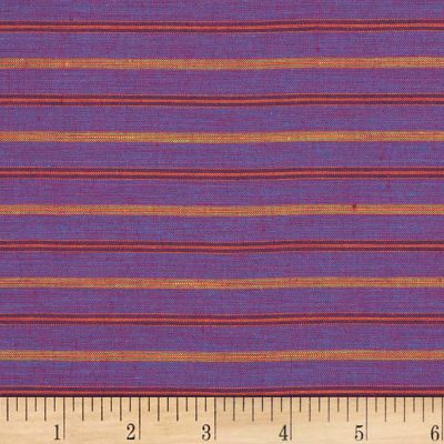 100% European Linen Striped Shirting Plum Multi