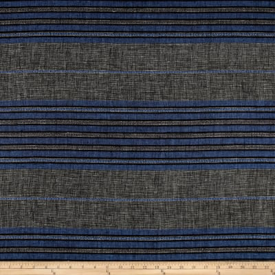 100% European Linen Striped Shirting Blue Multi