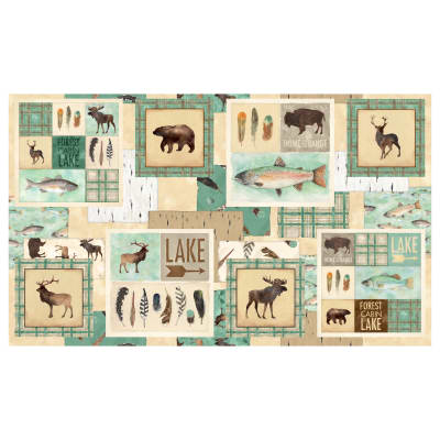 """At The Lodge Flannel Craft 24"""" Panel Multi"""