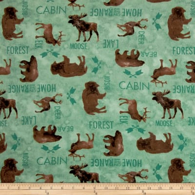 At The Lodge Flannel Animals Allover Teal