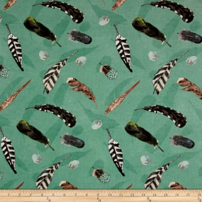 At The Lodge Flannel Feathers Allover Teal