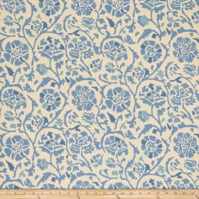 Fabricut 50035w Rosette Wallpaper Blue 03 (Double Roll)