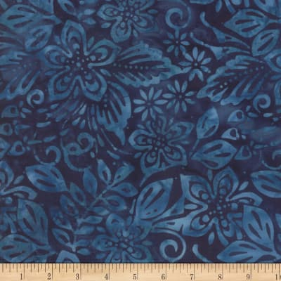 Wilmington Batiks Packed Floral Mix Deep Blue