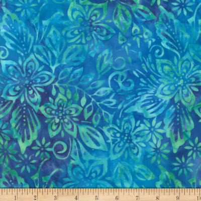 Wilmington Batiks Packed Floral Mix Blue/Green