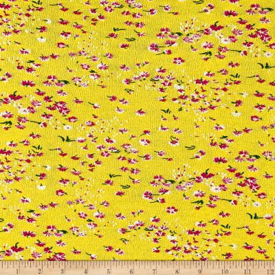 Italian Designer Tissue Knit Floral Yellow/White