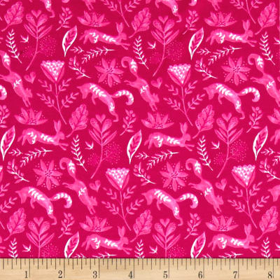 Michael Miller Frolic On Jersey Knit Frolicking Raspberry