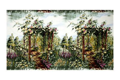 "Michael Miller Landscapes Floral Rose 24"" Panel Arbor Green"