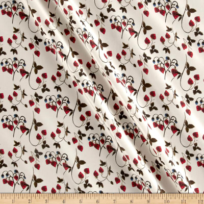 Liberty Fabrics Kensington Crepe de Chine Strawberry Fields Cherry/Cream