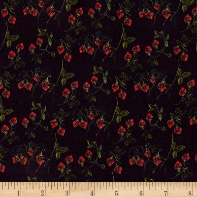 Liberty Fabrics Kensington Crepe de Chine Strawberry Fields Navy Blue/Green/Red
