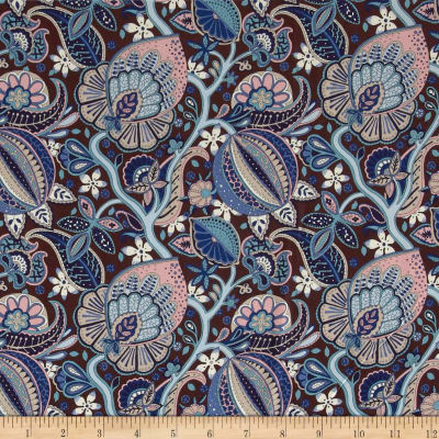 Liberty Fabrics Kensington Crepe de Chine Citronella Brown/Blue/Pink