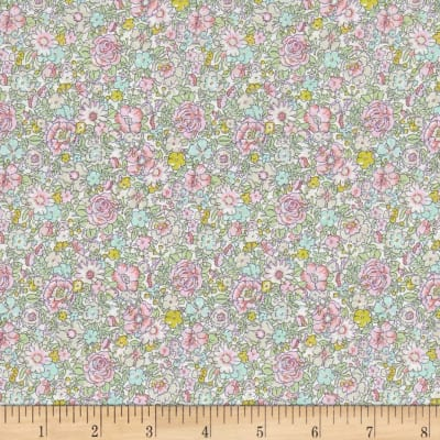 Liberty Fabrics Classic Tana Lawn Amelie Roses Lime/Pink/Yellow