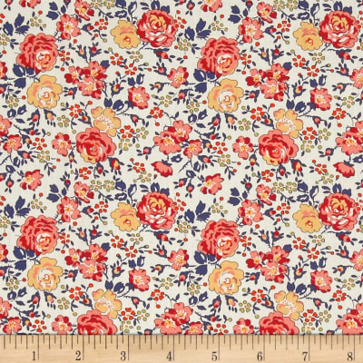 Liberty Fabrics Classic Tana Lawn Felicite Roses Peach/Yellow/Ivory