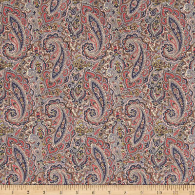 Liberty Fabrics Classic Tana Lawn Tessa Paisley Light Gray/Royal/Beige