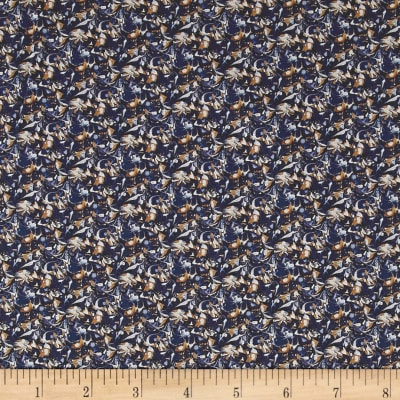 Liberty Fabrics Saville Poplin Alba Navy/Orange