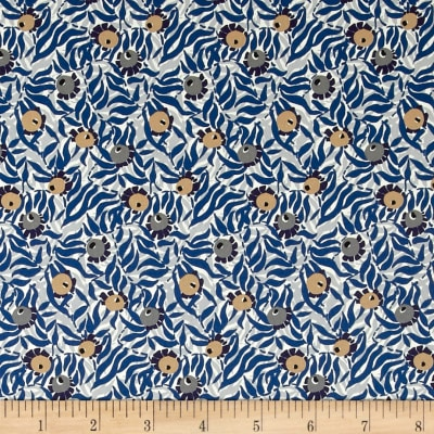 Liberty Fabrics Saville Poplin Huckleberry Blue/Orange/Grey