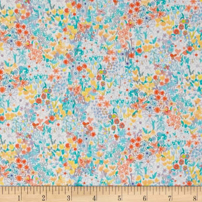 Liberty Fabrics Tana Lawn Poppy's Meadow Pink/Blue/Yellow