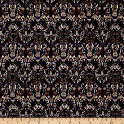Liberty Fabrics Jersey Knit Queen Bee Brown/Purple/Blue