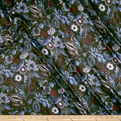 Liberty Fabrics Belgravia Silk Satin Charmeuse Earthly Delights Turquoise