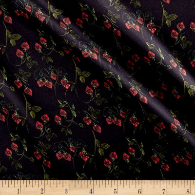 Liberty Fabrics Belgravia Silk Charmeuse Satin Strawberry Fields Navy Blue/Green/Red