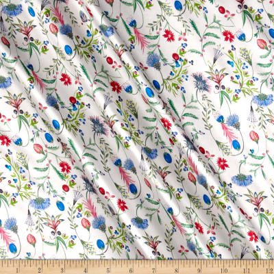 Liberty Fabrics Belgravia  Silk Satin Charmeuse Temptation Meadow Red/Blue/Green