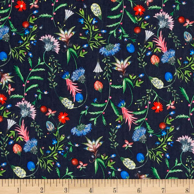 Liberty Fabrics Tana Lawn Temptation Meadow Midnight Blue/Pink