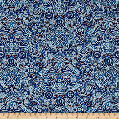 Liberty Fabrics Tana Lawn Peach Nouveau Blue/Brown