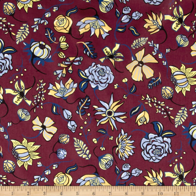 Liberty Fabrics Tana Lawn Winter Floral Fuchsia/Blue/Yellow