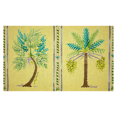 Braemore Palm Island Panel Linen Blend Sunshine