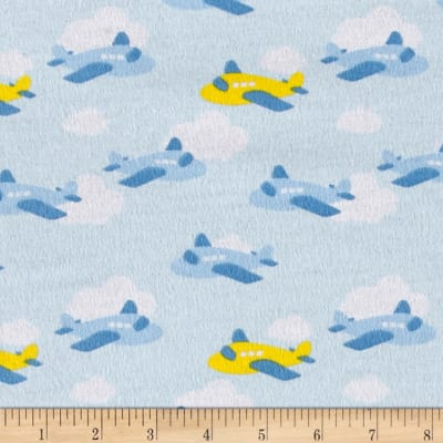 Airplane Flannel Light Blue/Yellow