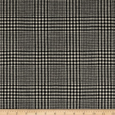 Luxury Wool Suiting Houndstooth Plaid Black/Cream
