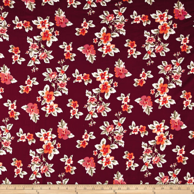 Double Brushed Poly Spandex Jersey Knit Multi Floral Wine/Orange
