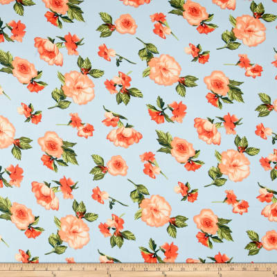 Double Brushed Poly Spandex Jersey Knit Roses Sky Blue/Coral