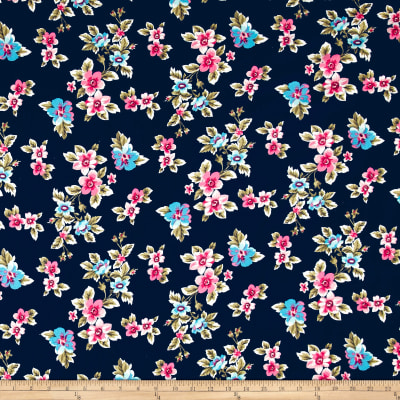 Double Brushed Poly Spandex Jersey Knit Multi Floral Navy/Turquoise/Bubblegum Pink