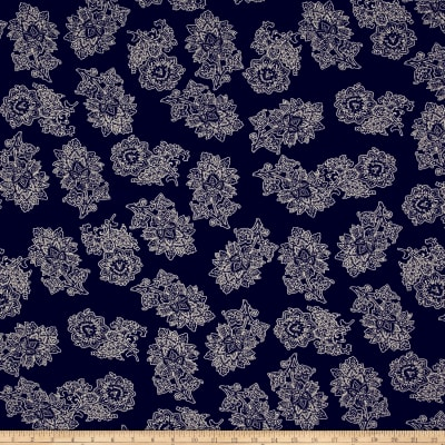 Rayon Challis Floral Navy/Ivory