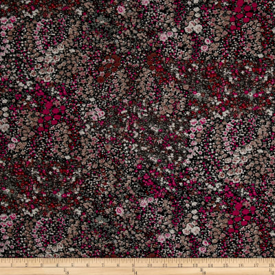 Yoryu Crepe Georgette Allover Floral Fuchsia/Brown/Gray